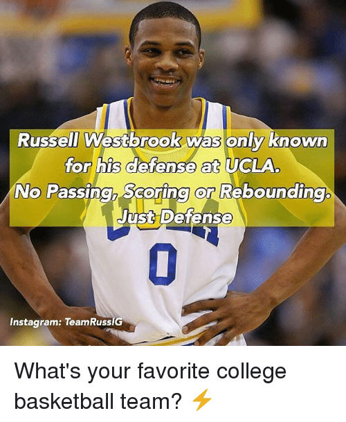 Russell Westorook Was Only Known for His Defense at UCLA No Passingh Scoring or Rebounding Just Defense 0 Instagram TeamRuss What's Your Favorite College Basketball Team? ⚡️ | Basketball Meme on me.me