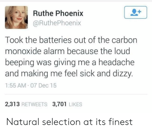Alarm, Phoenix, and Sick: Ruthe Phoenix  @RuthePhoenix  Took the batteries out of the carbon  monoxide alarm because the loud  beeping was giving me a headache  and making me feel sick and dizzy  1:55 AM 07 Dec 15  2,313 RETWEETS 3,701 LIKES Natural selection at its finest
