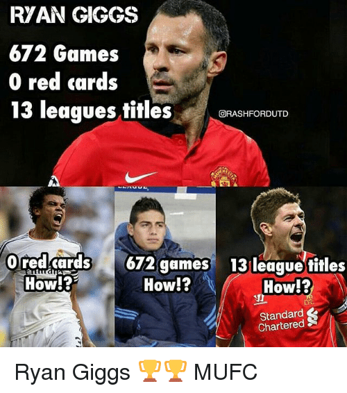 Memes, Games, and Giggs: RVAN GIGGS  672 Games  0 red cards  13 leaques titlesBFASHFORDUTD  回RASHFORDUTD  redd62 gm  How!?  13 league fitles  How!?  19  How!?  Standard  Chartered Ryan Giggs 🏆🏆 MUFC