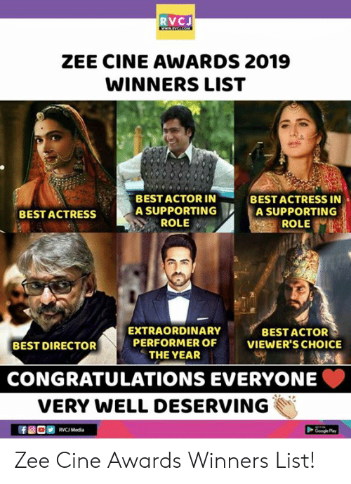 RVCJ ZEE CINE AWARDS 2019 WINNERS LIST BEST ACTOR IN a