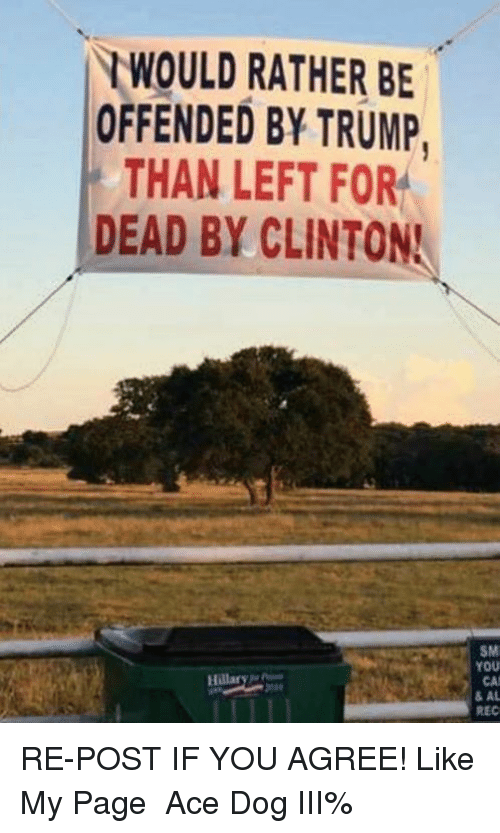 Trump, Page, and Dog: RWOULD RATHER BE  OFFENDED BY TRUMP  THAN LEFT FOR  DEAD BY CLINTON!  Hillary  SM  YOU  CAM  & AL  REC RE-POST IF YOU AGREE! Like My Page ► Ace Dog III%