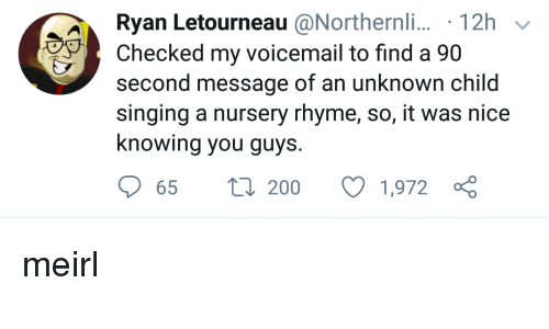 Bailey Jay, Singing, and MeIRL: Ryan Letourneau @Northen  Checked my voicemail to find a 90  second message of an unknown child  singing a nursery rhyme, so, it was nice  knowing you guys.  t 200 1,972 meirl