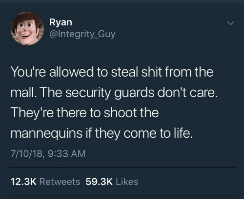 Life, Shit, and Security: Ryan  @lntegrity_Guy  You're allowed to steal shit from the  mall. The security guards don't care.  They're there to shoot the  mannequins if they come to life.  7/10/18, 9:33 AM  12.3K Retweets 59.3K Likes