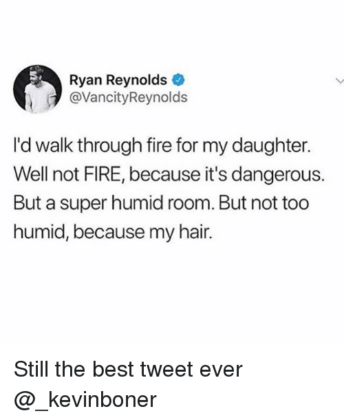 Fire, Funny, and Meme: Ryan Reynolds  @VancityReynolds  I'd walk through fire for my daughter.  Well not FIRE, because it's dangerous.  But a super humid room. But not too  humid, because my hair. Still the best tweet ever @_kevinboner