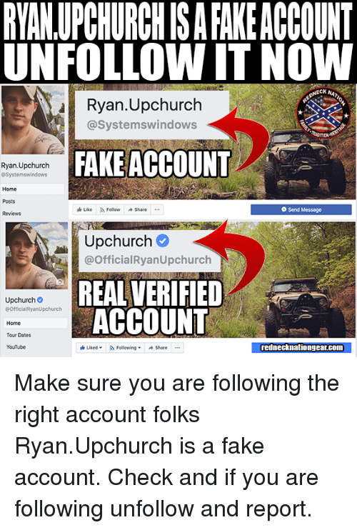 RYANUPCHURCH IS a FAKE ACCOUNT UNFOLLOW IT NOW NECK NA