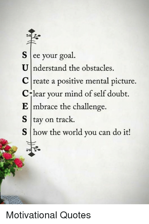 S Ee Your Goal U Nderstand The Obstacles C Reate A Positive Mental