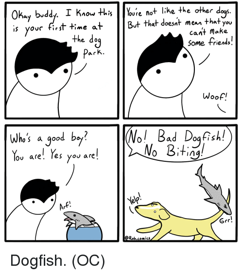 Bad, Friends, and Good: S.  Okay bvddy. I Kiou HhisYoure not like the other d  ovc first time at  But that doesat mean that you  cant make  the do  Some friends.  Woof.   (Nol Bad Dog Rell  NoBitin  who's a good b。 ?  lov are'. Tes you are  Grr!  Rob.comics Dogfish. (OC)