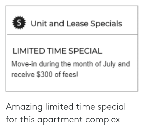 Lease Specials Near Me >> S Unit And Lease Specials Limited Time Special Move In