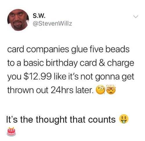 Sw Card Companies Glue Five Beads To A Basic Birthday Card Charge