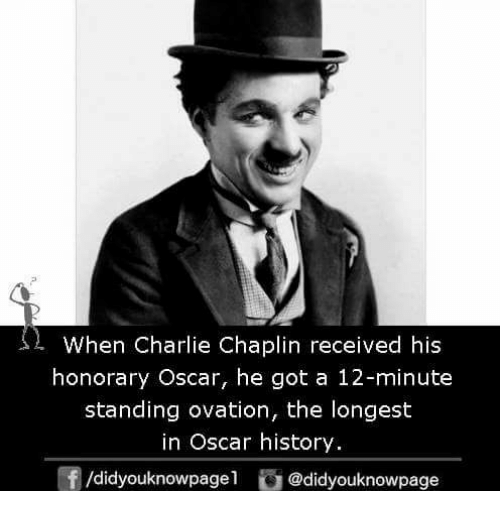 Charlie, Memes, and History: s  When Charlie Chaplin received his  honorary Oscar, he got a 12-minute  standing ovation, the longest  in Oscar history  団/d.dyouknowpage1 @didyouknowpage
