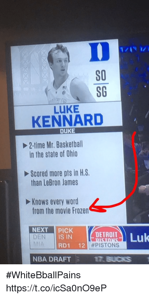 Basketball, Detroit, and Frozen: S0  80  LUKE  KENNARD  DUKE  2-time Mr. Basketball  in the state of Ohio  Scored more pts in H.S.  than LeBron James  Knows every word  from the movie Frozen  Keme  NEXT PICK DETROIT  DEN  DEN IS IN  RD1 12  | #PISTONS  NBA DRAFT  ITT. BUCKS #WhiteBballPains https://t.co/icSa0nO9eP