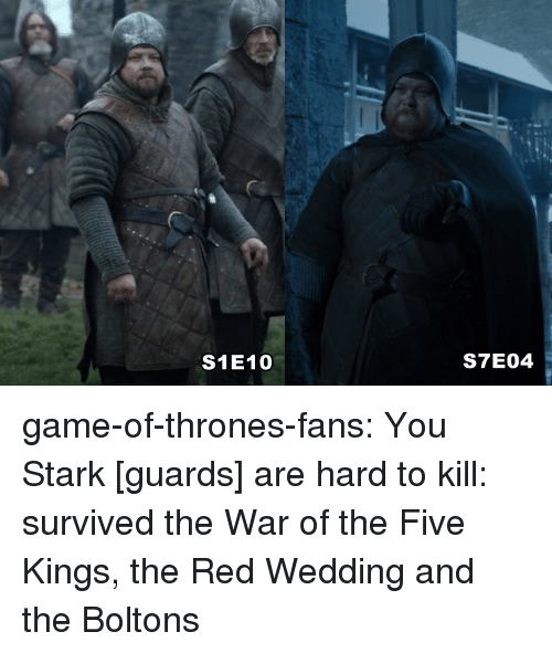 Game of Thrones, Tumblr, and Red Wedding: S1E10  S7E04 game-of-thrones-fans:  You Stark [guards] are hard to kill: survived the War of the Five Kings, the Red Wedding and the Boltons
