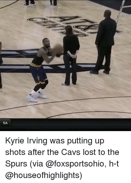 Sports and H T: SA Kyrie Irving was putting up shots after the Cavs lost to the Spurs (via @foxsportsohio, h-t @houseofhighlights)