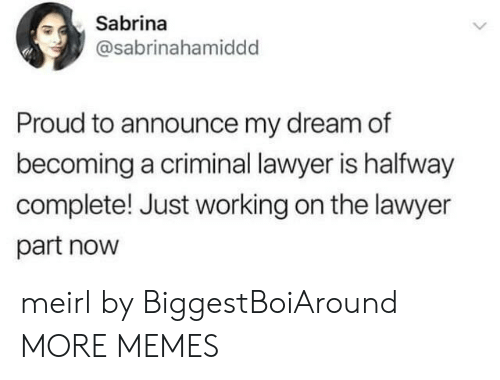 Dank, Lawyer, and Memes: Sabrina  @sabrinahamiddd  Proud to announce my dream of  becoming a criminal lawyer is halfway  complete! Just working on the lawyer  part now meirl by BiggestBoiAround MORE MEMES