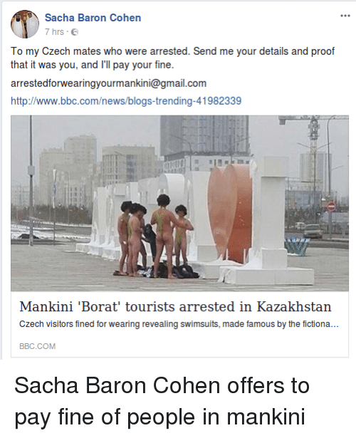 Counterpoint To Baron Cohen Bogus New >> Sacha Baron Cohen 7 Hrs E To My Czech Mates Who Were