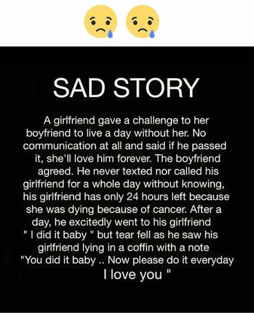 Sad Story A Girlfriend Gave A Challenge To Her Boyfriend To Live A