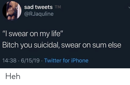 "Bitch, Iphone, and Life: sad tweets TM  @RJaquline  ""I swear on my life""  Bitch you suicidal, swear on sum else  14:38 6/15/19 Twitter for iPhone Heh"