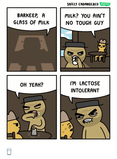 Memes, Yeah, and Tough: SAFELY ENDANGERED WEBTOON  BARKEER A  GLASS OF MILK  MILK? YOU AIN'T  NO TOUGH GUY  Tr  I'M LACTOSE  INTOLERANT  OH YEAH? 🥛