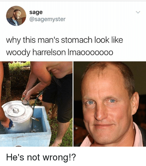 Memes, Woody Harrelson, and Sage: sage  @sagemyster  why this man's stomach look like  woody harrelson Imaooooooo He's not wrong!?