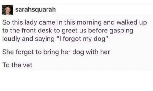 "Dank, 🤖, and Dog: sairahsquarah  So this lady came in this morning and walked up  to the front desk to greet us before gasping  loudly and saying ""I forgot my dog""  She forgot to bring her dog with her  To the vet"