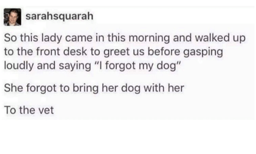 "Dank, Dogs, and Ups: sairahsquarah  So this lady came in this morning and walked up  to the front desk to greet us before gasping  loudly and saying ""I forgot my dog""  She forgot to bring her dog with her  To the vet"