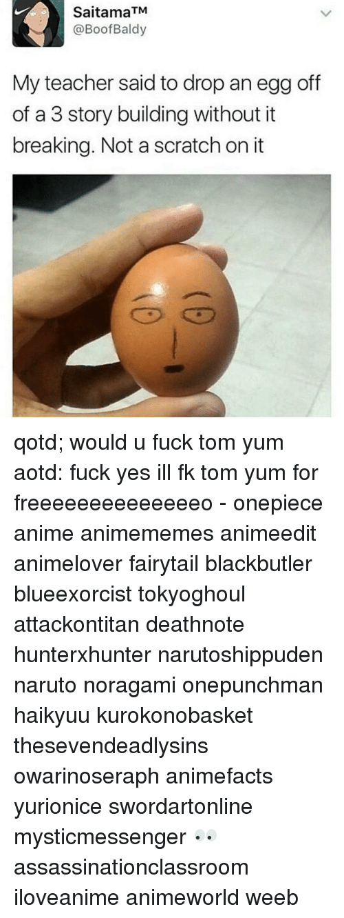 Scratch, Boof, and Fandom: Saitama TM  @Boof Baldy  My teacher said to drop an egg off  of a 3 story building without it  breaking. Not a scratch on it qotd; would u fuck tom yum aotd: fuck yes ill fk tom yum for freeeeeeeeeeeeeeo - onepiece anime animememes animeedit animelover fairytail blackbutler blueexorcist tokyoghoul attackontitan deathnote hunterxhunter narutoshippuden naruto noragami onepunchman haikyuu kurokonobasket thesevendeadlysins owarinoseraph animefacts yurionice swordartonline mysticmessenger 👀 assassinationclassroom iloveanime animeworld weeb