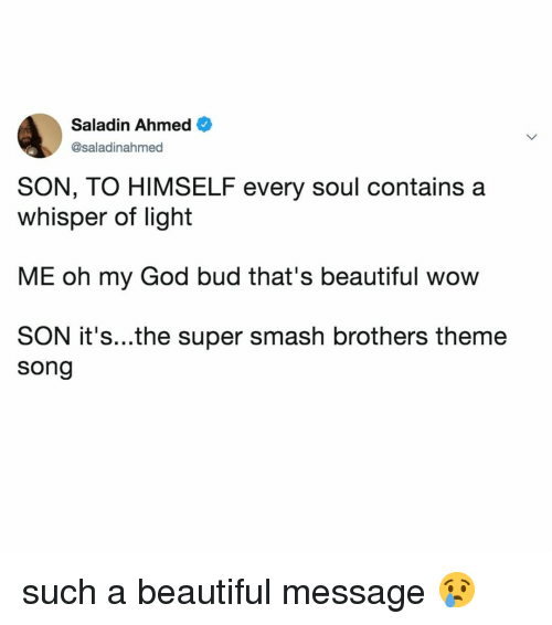 Beautiful, God, and Oh My God: Saladin Ahmed  @saladinahmed  SON, TO HIMSELF every soul contains a  whisper of light  ME oh my God bud that's beautiful wow  SON it's...the super smash brothers theme  song such a beautiful message 😢
