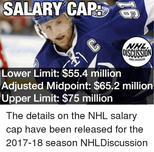 Memes, National Hockey League (NHL), and Been: SALARY CAP:S  EA  NISCUSSION  Lower Limit: $55.4 million  Adjusted Midpoint: $65.2 million  Upper Limit: $75 million The details on the NHL salary cap have been released for the 2017-18 season NHLDiscussion