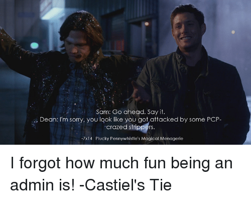 Sam go ahead say it dean m sorry you look like you got attacked by sam go ahead say it dean m sorry you look like you got attacked by some pcp crazed strippers 7x14 plucky pennywhistles magical menagerie i forgot how much ccuart Gallery