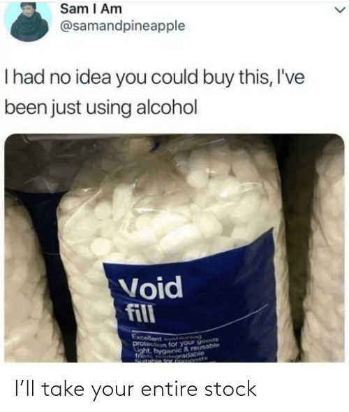 Alcohol, Been, and Tor: Sam I Am  @samandpineapple  Thad no idea you could buy this, I've  been just using alcohol  Void  fill  Excellent un ind  protection for your goode  aht, hygienic & reusable  Tooss oradable  Stable tor FRMOOstH I'll take your entire stock