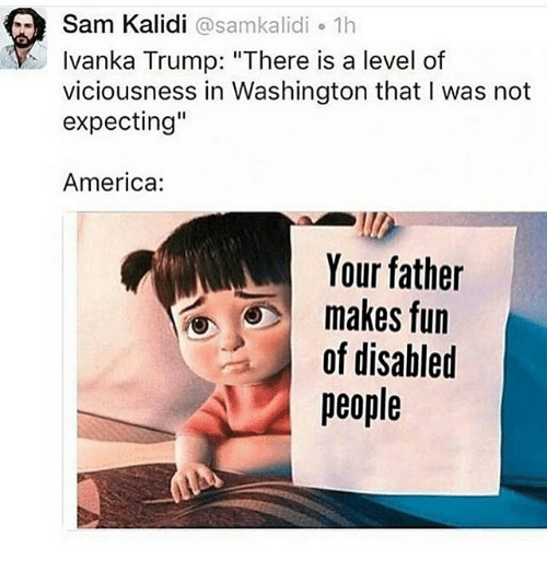 "America, Memes, and Ivanka Trump: Sam Kalidi samkalidi 1h  Ivanka Trump: ""There is a level of  viciousness in Washington that I was not  expecting""  America:  Your father  makes of disabled"