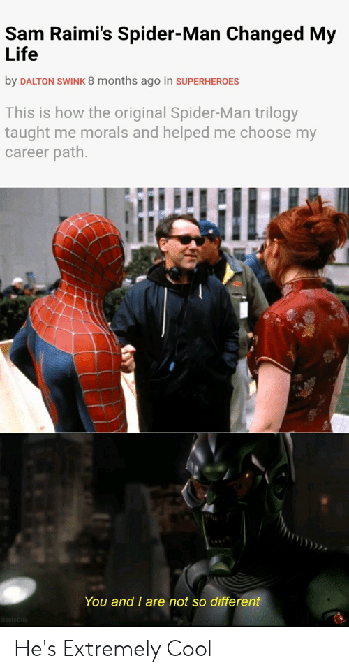 Life, Spider, and SpiderMan: Sam Raimi's Spider-Man Changed My  Life  by DALTON SWINK 8 months ago in SUPERHEROES  This is how the original Spider-Man trilogy  taught me morals and helped me choose my  career path.  You and I are not so different He's Extremely Cool
