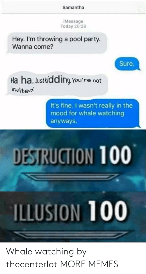 Dank, Memes, and Mood: Samantha  IMessage  Today 20:28  Hey. I'm throwing a pool party.  Wanna come?  Sure.  Ha ha. Justkidding You're not  invited  It's fine. I wasn't really in the  mood for whale watching  anyways.  DESTRUCTION 100  ILLUSION 100 Whale watching by thecenterlot MORE MEMES