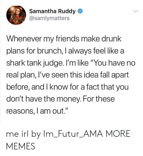 """Dank, Drunk, and Fall: Samantha Ruddy  @samlymatters  Whenever my friends make drunk  plans for brunch, I always feel like a  shark tank judge. I'm like """"You have no  real plan, l've seen this idea fall apart  before, and I know for a fact that you  don't have the money. For these  reasons, l am out."""" me irl by Im_Futur_AMA MORE MEMES"""