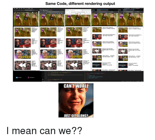 Same Code Different Rendering Output Finder File Edit View Go Window