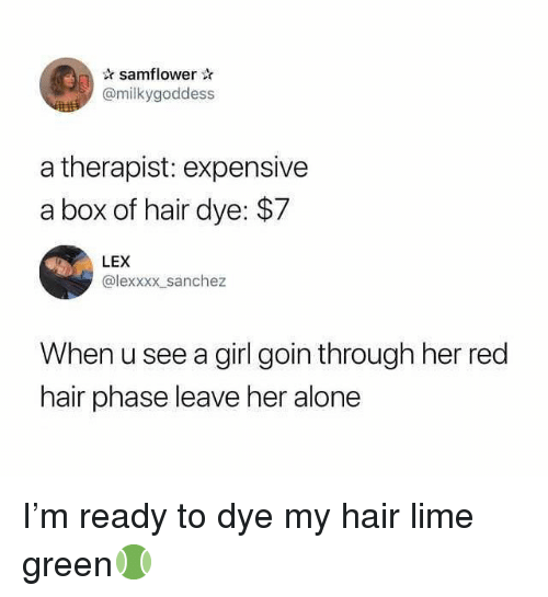 Being Alone, Memes, and Girl: samflower  @milkygoddess  a therapist: expensive  a box of hair dye: $7  LEX  @lexxxx sanchez  When u see a girl goin through her red  hair phase leave her alone I'm ready to dye my hair lime green🎾