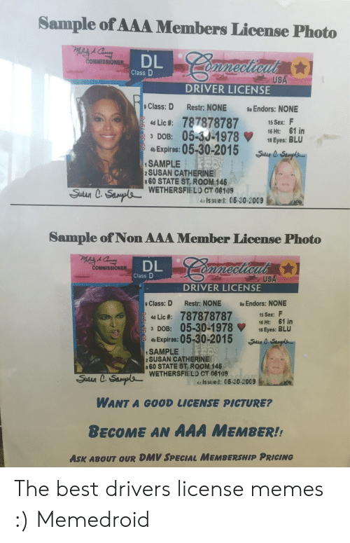 Sample of AAA Members License Photo DL Class D USA DRIVER