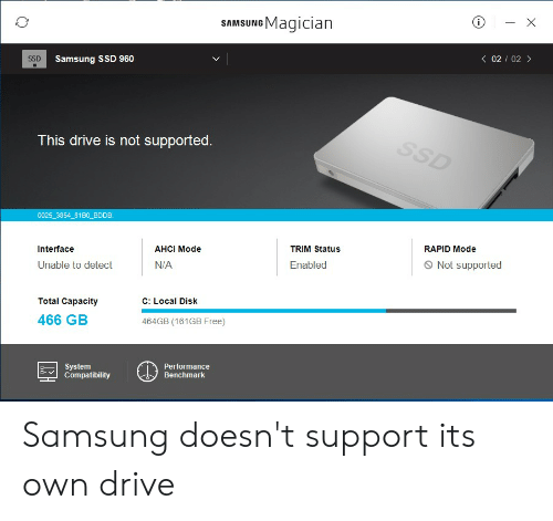 SAMSUNG Magician SSD Samsung SSD 960 <02 02 > This Drive Is Not