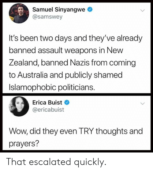Memes, Wow, and Australia: Samuel Sinyangwe  @samswey  It's been two days and they've already  banned assault weapons in New  Zea  land, banned Nazis from coming  to Australia and publicly shamed  Islamophobic politicians.  Erica Buist  @ericabuist  Wow, did they even TRY thoughts and  prayers? That escalated quickly.