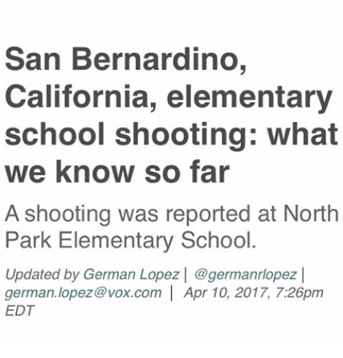 San Bernardino California Elementary School Shooting What