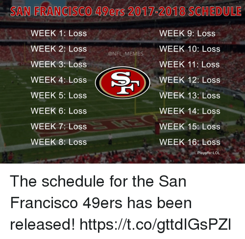 San Francisco 49ers, Football, and Lol: SAN FRANCISCO 49ers 20 1752018 SCHEDULE  WEEK 1: Loss  WEEK 9: Loss  WEEK 2: Loss  WEEK 10: Loss  @NFL MEMES  WEEK 3: Loss  WEEK 11: Loss  WEEK 12: Loss  WEEK 4: Loss  WEEK 5: Loss  WEEK 13: Loss  WEEK 6: Loss  WEEK 14: Loss  WEEK 7: Loss  WEEK 15: Loss  WEEK 8: Loss  WEEK 16: Loss  Playoffs: LOL The schedule for the San Francisco 49ers has been released! https://t.co/gttdIGsPZl
