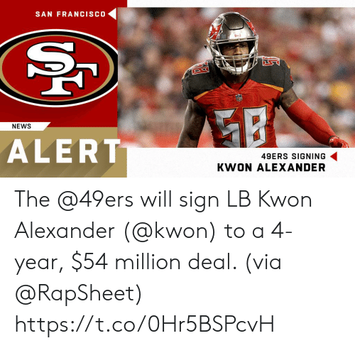 San Francisco 49ers, Memes, and News: SAN FRANCISCO  8043  NEWS  ALERT  49ERS SIGNING  KWON ALEXANDER The @49ers will sign LB Kwon Alexander (@kwon) to a 4-year, $54 million deal. (via @RapSheet) https://t.co/0Hr5BSPcvH