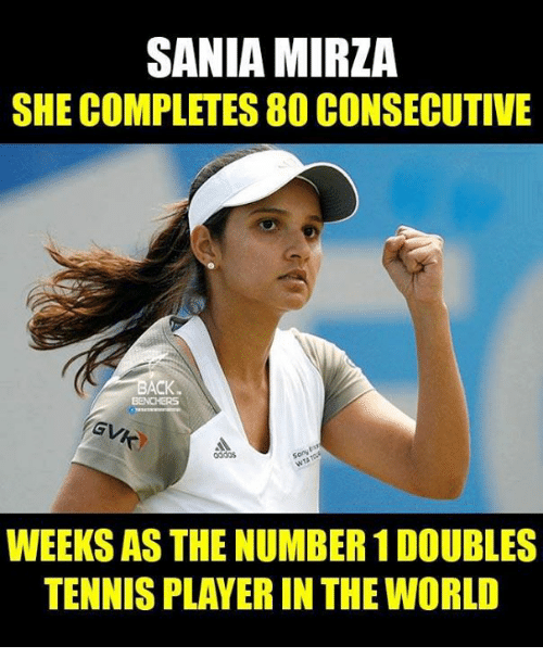 Memes, Tennis, and World: SANIA MIRZA  SHE COMPLETES 80 CONSECUTIVE  BACK  WEEKS AS THE NUMBER 1DOUBLES  TENNIS PLAYERIN THE WORLD