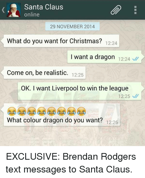 christmas santa claus and soccer santa claus online 29 november 2014 what do exclusive brendan rodgers text messages