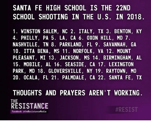 SANTA FE HIGH SCHOOL IS THE 22ND SCHOOL SHOOTING IN THE US