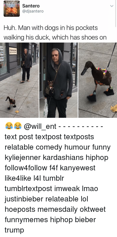 Memes, 🤖, and Paragon: Santero  dj Santero  Huh. Man with dogs in his pockets  walking his duck, which has shoes on  PARAGON 😂😂 @will_ent - - - - - - - - - - text post textpost textposts relatable comedy humour funny kyliejenner kardashians hiphop follow4follow f4f kanyewest like4like l4l tumblr tumblrtextpost imweak lmao justinbieber relateable lol hoeposts memesdaily oktweet funnymemes hiphop bieber trump