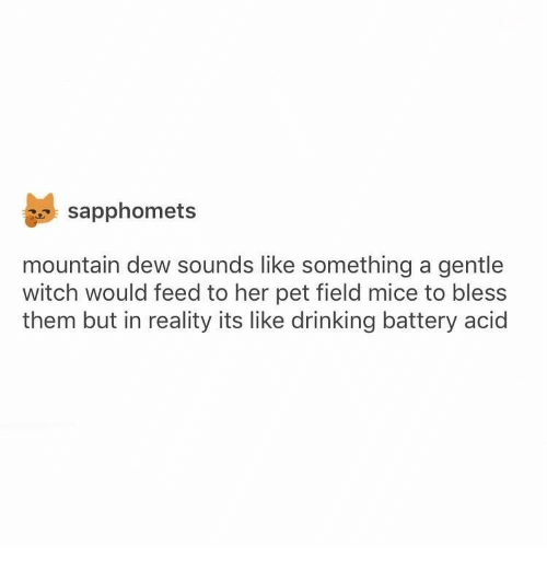 Drinking, Mountain Dew, and Reality: sapphomets  mountain dew sounds like something a gentle  witch would feed to her pet field mice to bless  them but in reality its like drinking battery acid