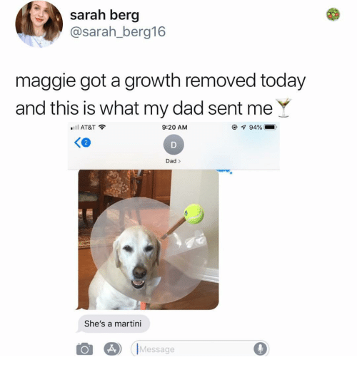 Dad, At&t, and Today: sarah berg  @sarah_berg16  maggie got a growth removed today  and this is what my dad sent me Y  .11 AT&T令  9:20 AM  94% |  Dad>  She's a martini  IMessage