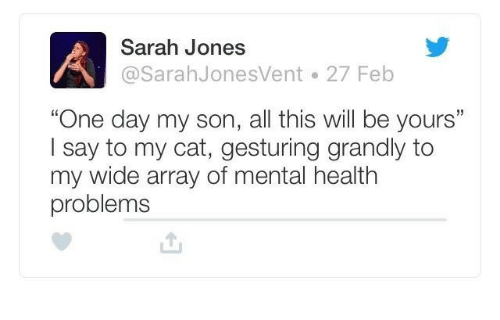 """Cat, One, and One Day: Sarah Jones  @SarahJonesVent 27 Feb  """"One day my son, all this will be yours""""  Isay to my cat, gesturing grandly to  my wide array of mental health  problems"""