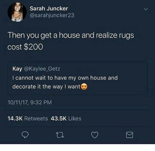 House, Rugs, and Humans of Tumblr: Sarah Juncker  @sarahjuncker23  Then you get a house and realize rugs  cost $2000  Kay @Kaylee_Getz  I cannot wait to have my own house and  decorate it the way I want  10/11/17, 9:32 PM  14.3K Retweets 43.5K Likes